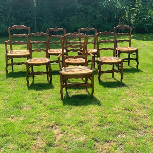 Set of 8 early 20th century French farmhouse chairs