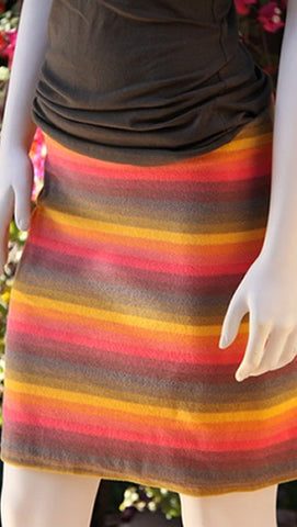 Orange Stripe Terry Skirt