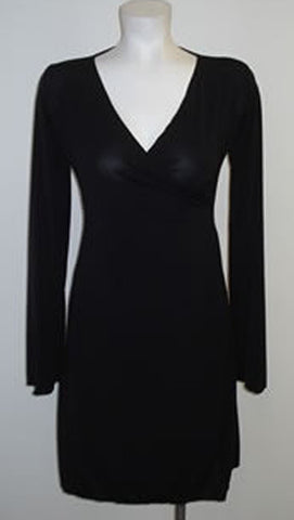 Black Color Faux Wrap Dress