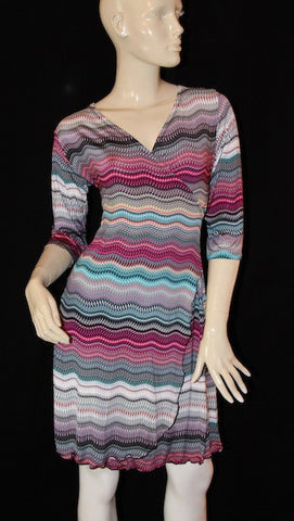 Pink Mosaic Faux Wrap Dress