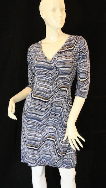 Blue Mosaic Faux Wrap Dress