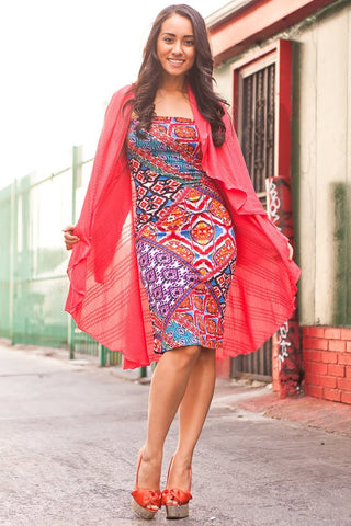 Aztec Strapless Dress