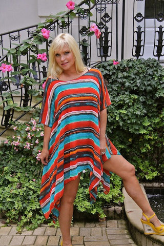 Shirley Ann Top / Dress - Orange and Teal Stripe