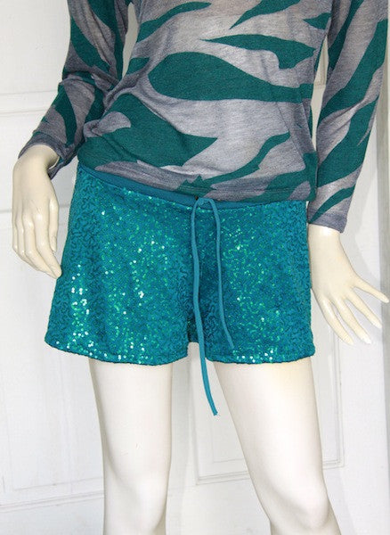 Sassy Sequined Shorts (Teal)