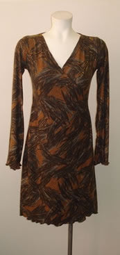 Feather Print Faux Wrap Dress