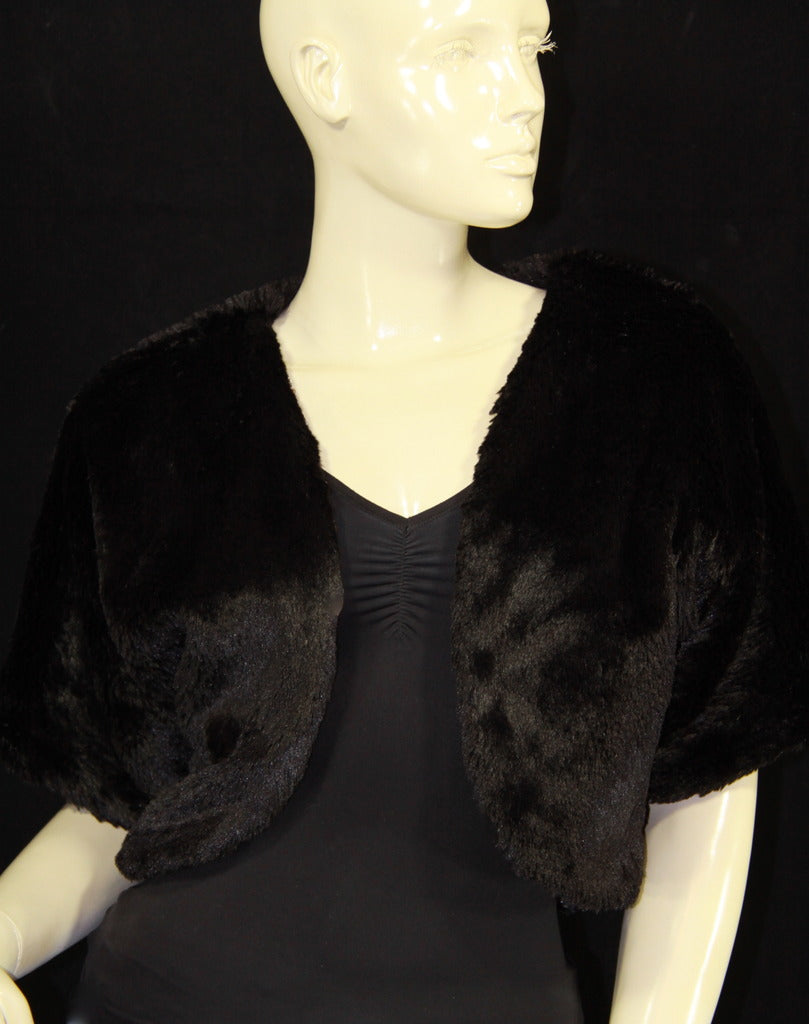 Black Sequin/Fur Reversible Shrug