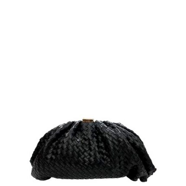 Woven Nappa Framed Clutch
