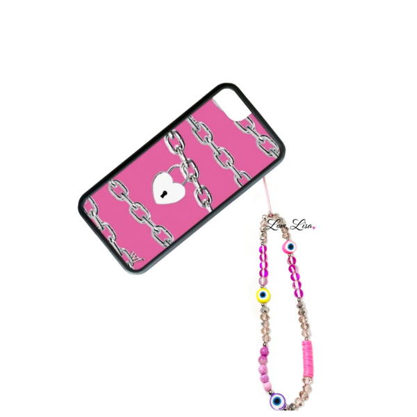 Nina's Neon Pink Evil Eye Beaded Phone Strap