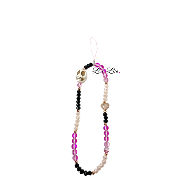Gia's Badass Pink & Black Beaded Phone Strap