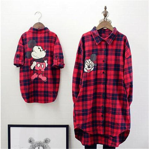 Spring Winter Family Matching Clothes Baby Girl Red Lattice Cardigan Shirt Mother And Daughter Clothes Windbreaker Family Look T Shirt Mere Fille Mon Mini Moi