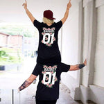 New Matching Couple Lover T Shirts Women 2018 Summer Fashion T-shirts Letter BAD GIRL BAD BOY 01 Flowers Print Tees for loved T Shirt Couple Mon Mini Moi