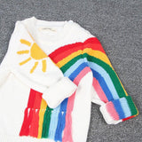 Family Clothing Autumn Fall Mom Daughter Family Clothes Rainbow Sweater Knitwear Sweater Pullover Mom Son Keep Warm Clothes Pull Mere Fille Mon Mini Moi