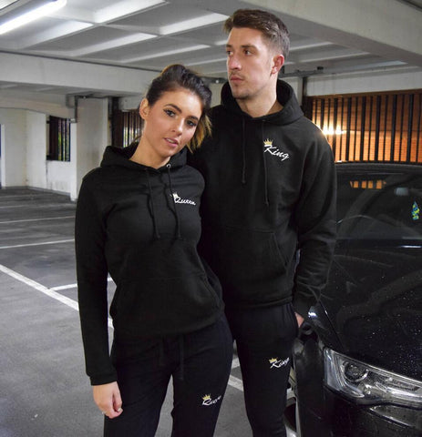 2018 Autumn Matching Couple Casual Tracksuits Women Men King Queen Print Hooded Hoodies and Pants Suits Lover Christmas Gifts Tenue Couple Mon Mini Moi