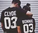 BONNIE CLYDE 03 Funny letters couple t shirts 2020 summer fashion black white women t shirt cotton short sleeve camisetas mujer T Shirt Couple Mon Mini Moi