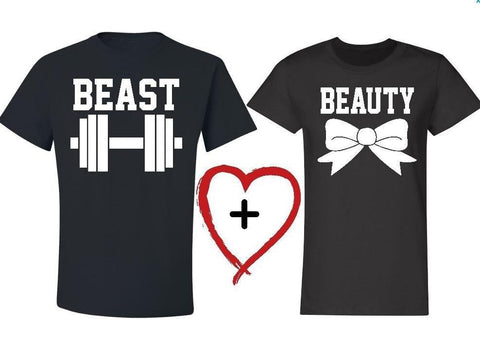 2018 New Beauty and the Beast Letter Print Couple Women Men Tshirts Cotton Casual t Shirt For Lady Top Tee Hipster Tumblr Black T Shirt Couple Mon Mini Moi