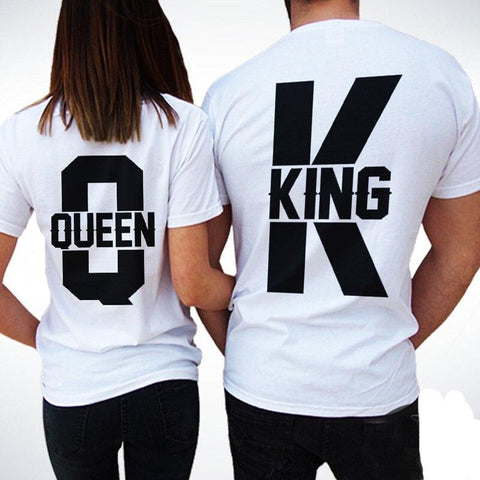 Short Sleeve T Shirts Women Men 2018 Summer New Tops King Queen Casual Loose Couple Clothes White Matching Lovers Unisex T-shirt T Shirt Couple Mon Mini Moi