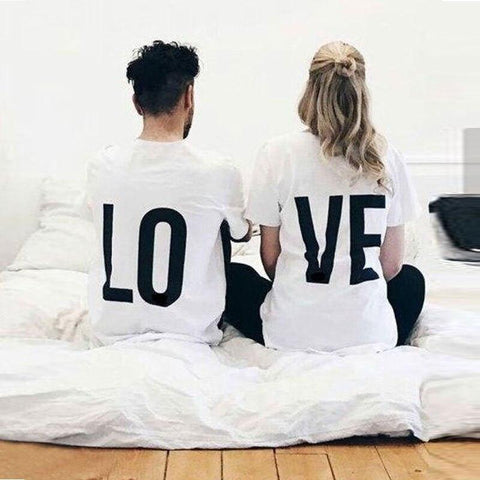 Valentine Couple T Shirt Funny LO VE Letter Print Cotton Clothes 2018 Summer Lovers T Shirts Clothes Women & Men O Neck Top Tees T Shirt Couple Mon Mini Moi