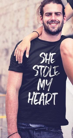 OMSJ New She Stole My Heart ...And I'm Keeping It Short Sleeve T-Shirt Valentine Funny Couples T Shirt Matching Couple Clothing T Shirt Couple Mon Mini Moi homme XS