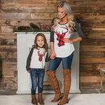 2019 Family Matching Outfits Tshirt MOTHER SON Women & Girls Christmas Deer Long Sleeve O Neck Patchwork Tee Tops T Shirt Mere Fille Mon Mini Moi