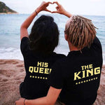 2017 King Queen T Shirt Couple Clothes Shirts Femme Summer Casual O-neck Short sleeve Back letter print Top Lovers High Quality Pull Couple Mon Mini Moi