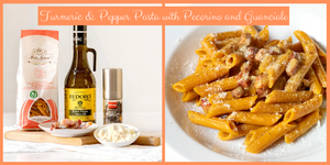 Turmeric & Pepper Pasta with Pecorino cheese and Guanciale