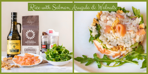 Rice with Smoked Salmon, Arugula & Walnuts