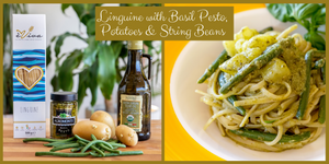 Linguine with Basil Pesto, Potatoes & String Beans
