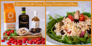 RICE SALAD with Tuna, Cherry Tomatoes and Black Olives