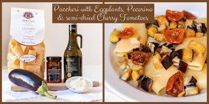 Paccheri with semi-dried Cherry Tomatoes, Eggplants & Pecorino