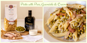 Penne Pasta with Peas, Guanciale & Cream