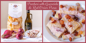 Paccheri with Red Onion puree & Guanciale