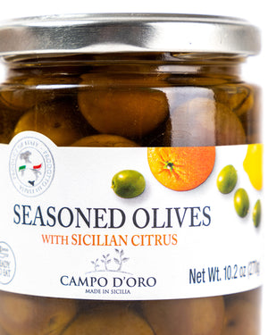 Seasoned Green Olives with Sicilian Citrus 10.2 Oz - Magnifico Food