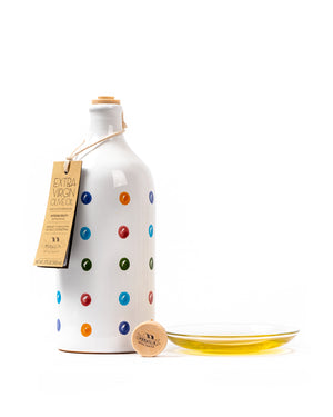 Polka dot Jar Extra Virgin Olive Oil with Intense Fruity 17 Fl Oz - Magnifico Food