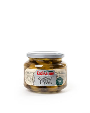 Grilled Pitted Olives in Sunflower Oil 11.6 Oz - Magnifico Food