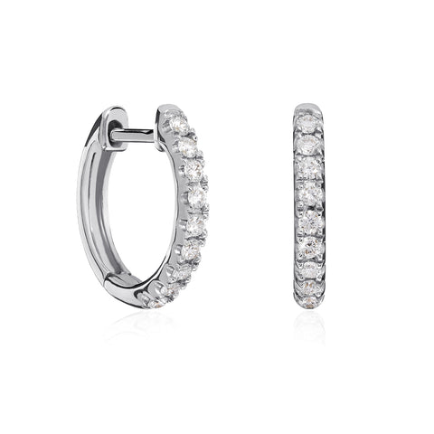 White Gold Castille Diamond Hoops