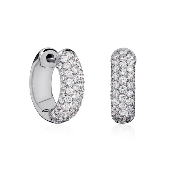 White Gold Diamond Pavé Hoops