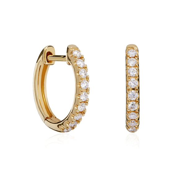 Yellow Gold Castille Diamond Hoops