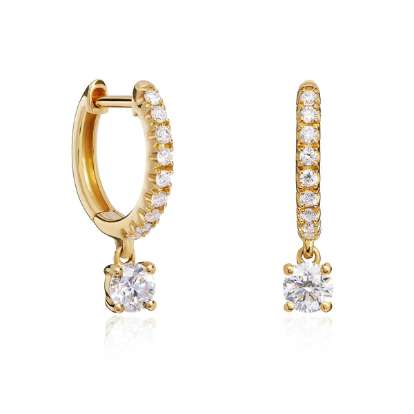Yellow Gold Diamond Drop Hoops