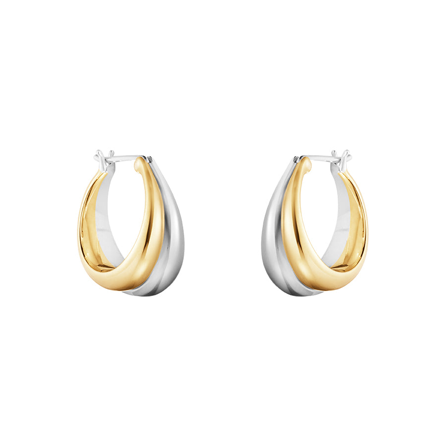 Curve Hoops - Sterling Silver and 18kt Yellow Gold