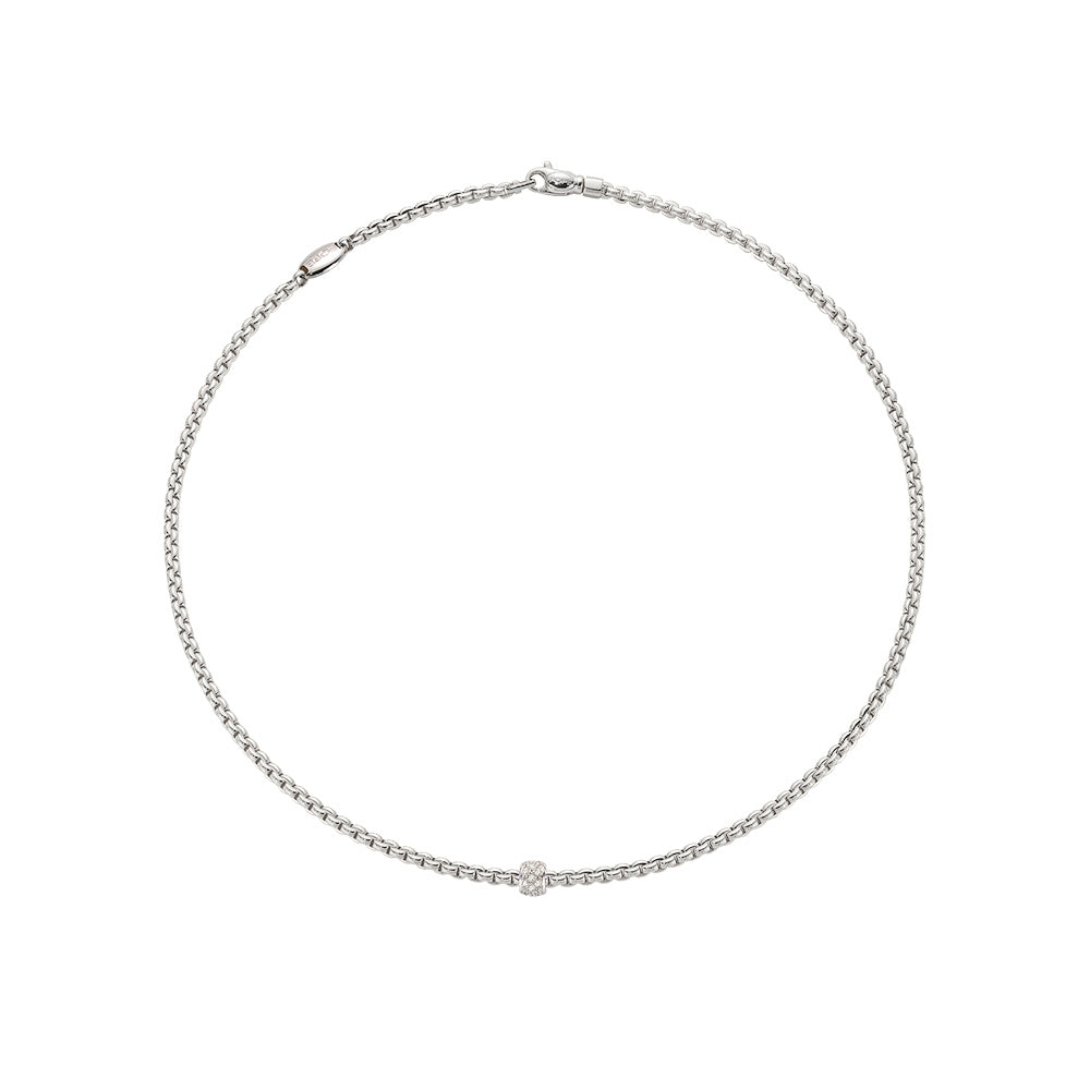 Eka Tiny Necklace with Pavé Diamond Rondel