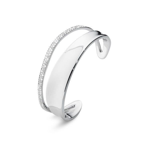 Marcia Bangle - Sterling Silver with Diamonds