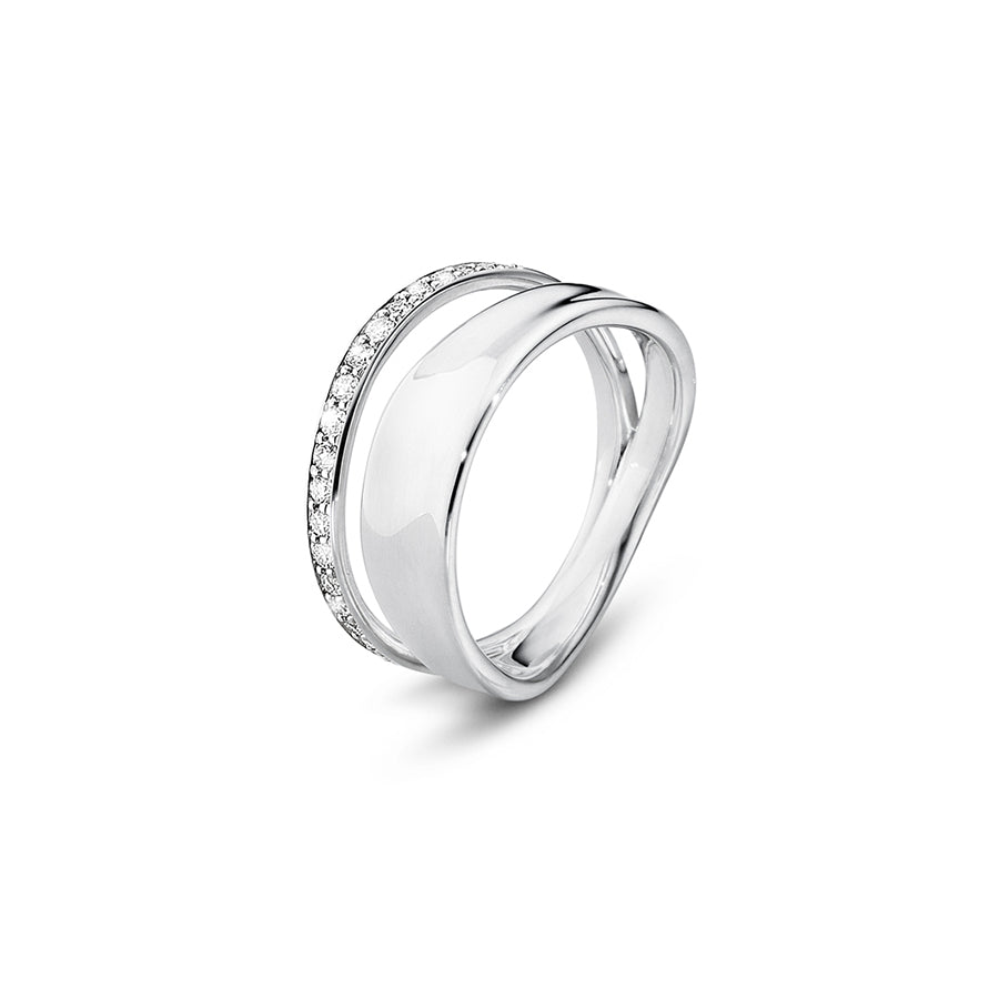Marcia Ring - Sterling Silver with Brilliant Cut Diamonds