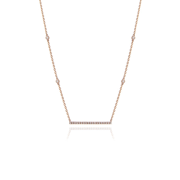 Long Diamond Bar Necklace in 18kt Rose Gold