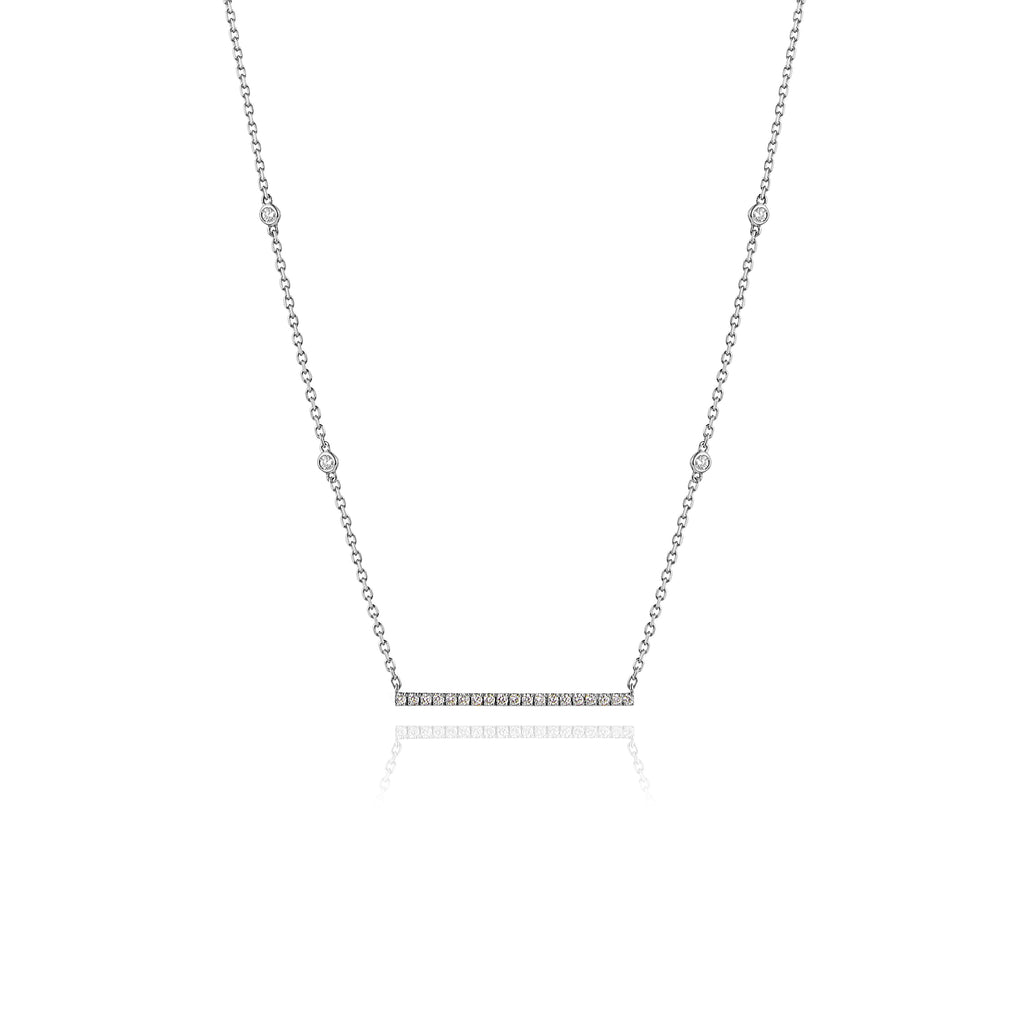 Diamond Bar Necklace in 18kt White Gold