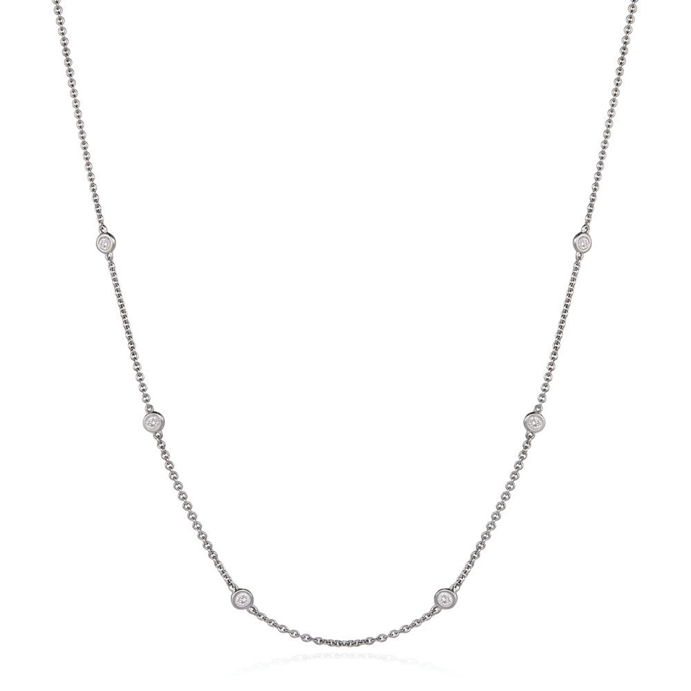 Solo Multi Stone Necklace in 18kt White Gold