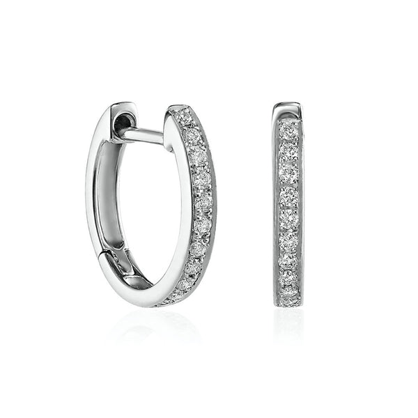 White Gold Thread and Grain Diamond Hoops