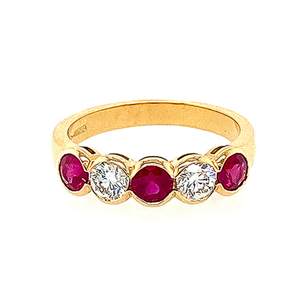 Five Stone Ruby and Diamond Ring