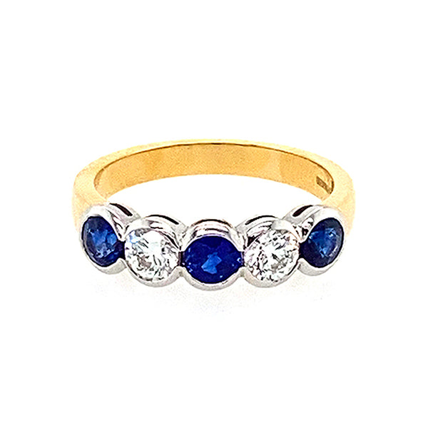 Five Stone Sapphire and Diamond Ring