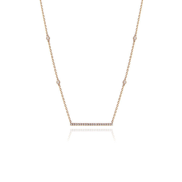 Long Diamond Bar Necklace in 18kt Yellow Gold