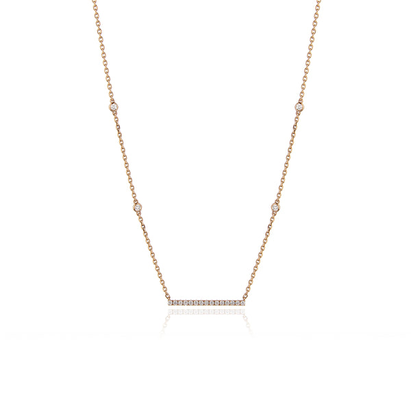 Diamond Bar Necklace in 18kt Yellow Gold